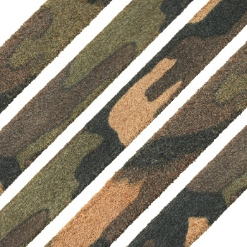 Flat Camo Suede 10mm Leather per METER - Army Green