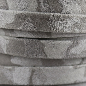 Flat Camo Suede 10mm Leather per METER- Grey