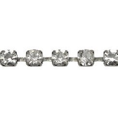 4mm Crystal Cup Chain - Antique Silver