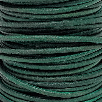 3mm Round Indian Leather Cord -Distressed Green