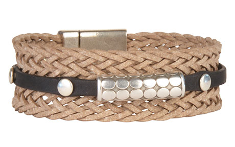 Braided Band 20mm Flat Leather Bracelet
