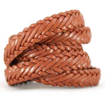 Braided Leather Strip Style 1 (15x3.5mm) per meter - Tan