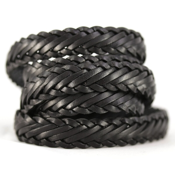Braided Leather Strip Style 1 (15x3.5mm) per meter - Black