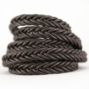 Braided Leather Strip Style 2 (10x4.5mm) per meter - Chocolate Bgrown