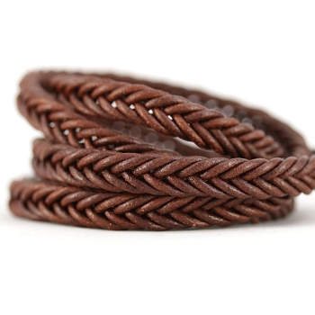 Braided Leather Strip Style 2 (10x4.5mm) per meter - Tan