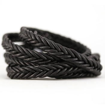 Braided Leather Strip Style 2 (10x4.5mm) per meter - Black