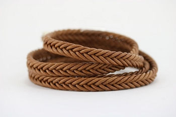 Braided Leather Strip Style 2 (10x4.5mm) per meter - Tobacco