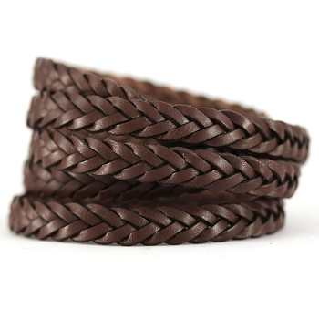 Braided Leather Strip Style 2 (11x3.5mm)  per meter - Chocolate Bgrown