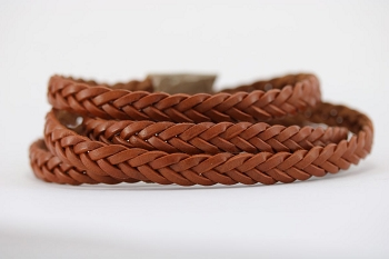 Braided Leather Strip Style 2 (11x3.5mm) per meter - Tan