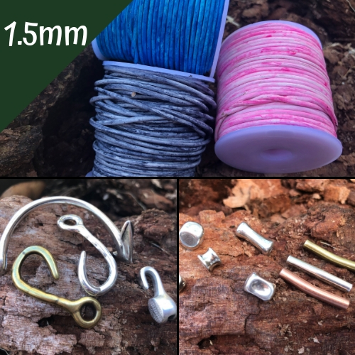1.5mm Round Beading Cord, Clasps and Components