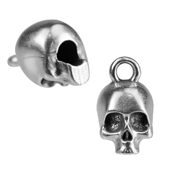 3mm Round Skull Loop End ANT SILVER