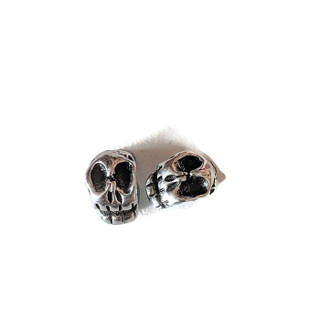 5MM Round skull Bead ANT SILVER