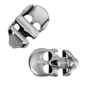 10mm Flat Long Skull Slider per 10 pieces ANT SILVER