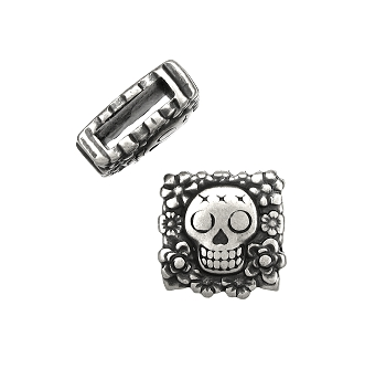 10mm Flat Sugar Skull Slider per 10 pieces - Antique Silver