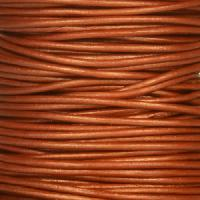 0.5mm Round Leather Cord - Metallic Red Copper - per yard