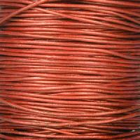 0.5mm Round Leather Cord - Metallic Russet - per yard