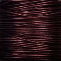 0.5mm Round Leather Cord - Metallic Maroon