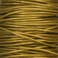 0.5mm Round Leather Cord - Metallic Olive - per yard