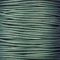 0.5mm Round Leather Cord - Metallic Truly Teal - per yard