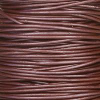 0.5mm Round Leather Cord - Metallic Berry - per yard