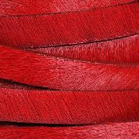 10mm flat HAIR ON leather RED - per inch