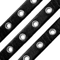 Eyelet 10mm Flat Leather Cord - Black