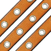 Eyelet 10mm Flat Leather Cord - Tan