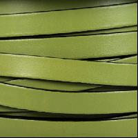 10mm Flat Leather Cord - Olive Green / Black - per inch