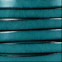 10mm Flat Leather Cord - Teal - per inch