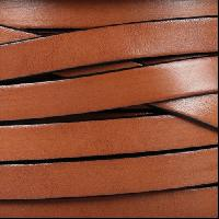 10mm Flat Leather Cord - Tan / Black - per inch