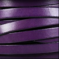 10mm Flat Leather Cord - Purple / Black - per inch