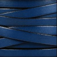 10mm Flat Leather Cord - Electric Blue / Black - per inch