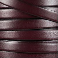 10mm Flat Leather Cord - Burgundy / Black - per inch