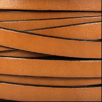10mm Flat Leather Cord - Tobacco / Black - per inch