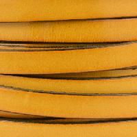 10mm Flat Leather Cord - Old Yellow - per inch