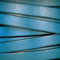 10mm Flat Leather Cord - Turquoise / Black