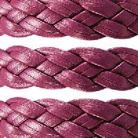 Braided 10mm Flat Leather Cord - Bordeaux - per inch