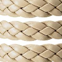 Braided 10mm Flat Leather Cord - Cream - per inch