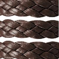 Braided 10mm Flat Leather Cord - Dark Brown - per inch