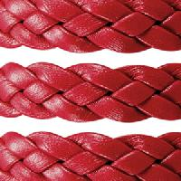 Braided 10mm Flat Leather Cord - Red - per inch