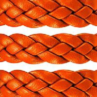 Braided 10mm Flat Leather Cord - Tangerine - per inch