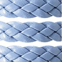 Braided 10mm Flat Leather Cord - Periwinkle - per inch