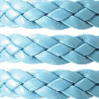 Braided 10mm Flat Leather Cord - Light Blue - per inch