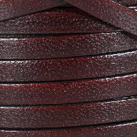 Camel 10mm Flat Leather Cord - BURGUNDY - per inch