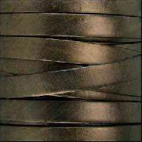10mm Flat Leather Cord - Metallic Bronze - per inch