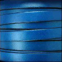 10mm Flat Leather Cord - Metallic Electric Blue - per inch