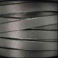 10mm Flat Leather Cord - Metallic Gunmetal - per inch