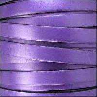10mm Flat Leather Cord - Metallic Purple - per inch