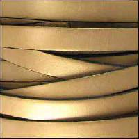 10mm Flat Leather Cord - Metallic Gold - per inch