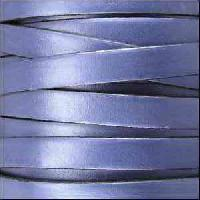 10mm Flat Leather Cord - Metallic Light Blue - per inch
